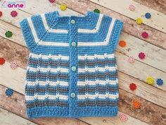 Vest Pattern, Free Pattern, Knitted Baby Clothes, Baby Vest, Free Youtube, Baby Knitting, Sweaters, Dresses, Anne