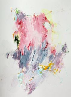 """Abstract Painting Intuitive Artwork Original on Paper """"Prayer and Cherry Blossoms"""""""