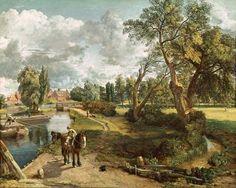 """""""John Flatford Mill"""" (1820) von John Constable (geboren am 11. Juni 1776 in East Bergholt, Suffolk, gestorben am 31. März 1837 in London-Hampstead), Vertreter der romantischen Malerei in England."""