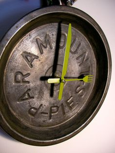 Pie Tin Kitchen Wall Clock by ArtSnack on Etsy, $40.00