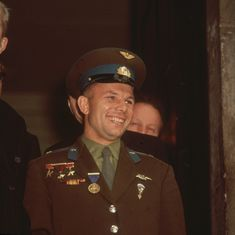 What Really Happened to Yuri Gagarin, the First Man in Space? Seven years after becoming the first man to fly into outer space, Soviet cosmonaut Yuri Gagarin died in a plane crash under mysterious circumstances. Fighter Pilot, Fighter Jets, Vostok 1, Image Hero, Russian Air Force, Extraordinary People, Visor Hats, Mystery Of History
