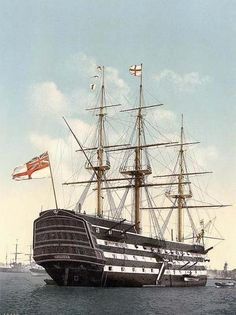 HMS Victory, docked in Portsmouth, England. As she looked in 1900 when she was moored on the Gosport side of Portsmouth (from 1812 to 1922).