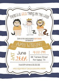 Where The Wild Things Are invitation template Wwwluckybean33etsy