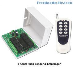 Dieser 8-Kanal Funk Sender & Relais-Empfänger arbeitet mit 8 Kontrollmodi. Das funk Set kann für Fernsteuerung von 8 Elektrogeräte verwendet. Mit Eigenschaften von Anti-Intenferenz, Beschutzung vom Gegenstrom, übermäßigen Strom wird es auf fast alle elektrische Anlage, wie Lichter, Türöffner, Garagentor, E-Schloss, Rolladen, Ankerwinde, Kran usw., angewendet.