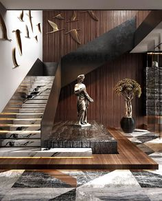 The interest, richness and depth that mixed materials bring to a design scheme is undeniable. Residential House in Dubai By Home Stairs Design, Home Room Design, Modern House Design, Stair Design, Life Design, Staircase Design Modern, Luxury Staircase, Contemporary Stairs, Tv Wall Design