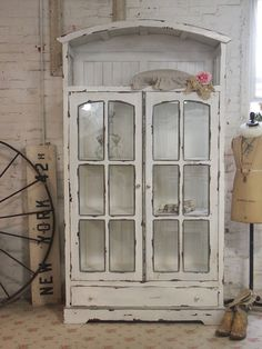 Love this Painted Cottage Chic Shabby Chateau Farmhouse Linen Cabinet ----can make w/ windows as doors