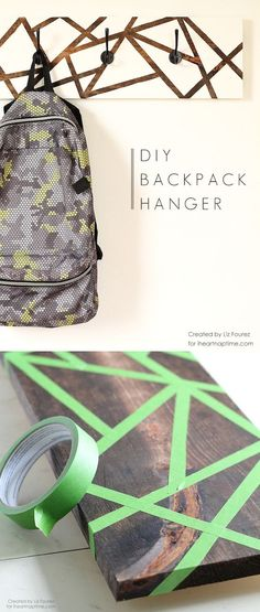 DIY Backpack Hanger : Super cute DIY backpack or coat hanger! A DIY home decor o. - DIY Backpack Hanger : Super cute DIY backpack or coat hanger! A DIY home decor or craft idea that a - Diy Home Decor Rustic, Diy Home Decor On A Budget, Easy Home Decor, Cheap Home Decor, Gold Home Decor, Cute Home Decor, Diy Rucksack, Backpack Hanger, Backpack Craft