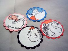 Cat in the Hat Seuss cupcake toppers Scalloped by NostalgiaFun, $5.50