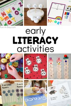 These early literacy activities are fun, engaging, AND help set a great foundation for reading and writing! Simple and easy literacy activities for preschoolers that parents and teachers love. Literacy Games, Preschool Learning Activities, Preschool Lessons, Alphabet Activities, Early Literacy, Preschool Activities, Children Activities, Learning Games, Reading Activities