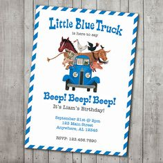 14 best little blue truck birthday party images on pinterest first little blue truck is here to say beep digital little blue truck invitations need this item to be customized filmwisefo