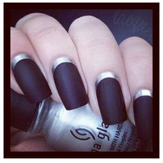 @glamour_heaven reverse french #manicure; silver and matte black.