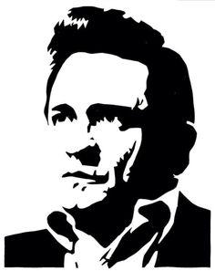 Johnny Cash, street art, stencil, by El Riot, on deviantart.com
