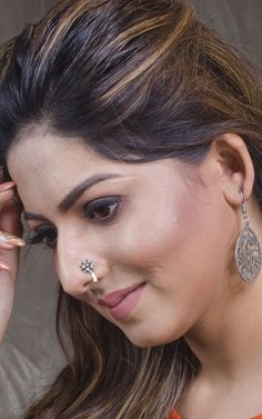 Pure Silver Flower Nose Pin in Pure Silver Beautiful Blonde Girl, Beautiful Girl Indian, Most Beautiful Indian Actress, Beautiful Hijab, Beautiful Women, Nose Pin Indian, Nose Ring Jewelry, Nose Rings, South Indian Actress Hot