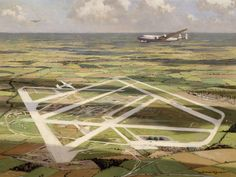 Heathrow from the Air, by Norman Wilkinson, c.1948-50. Oil on canvas; 61x81.5cm in frame 69.5x90x3cm.