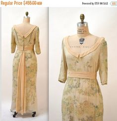 15% OFF SALE 90s does 30s Vintage Silk Gown Size by Hookedonhoney