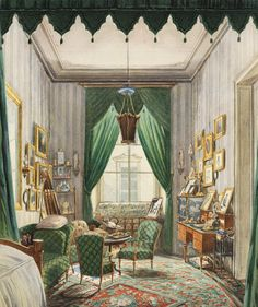 jaded-mandarin:  'An interior with a curtained bed alcove.' 19th Century.