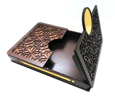 File of Box for laser cut 3 box designs cdr dxf pdf image 1 Laser Cutter Ideas, Laser Cutter Projects, Laser Art, 3d Laser, Wooden Jewelry Boxes, Wooden Boxes, Cardboard Rocket, Laser Cut Box, Leather Bag Pattern