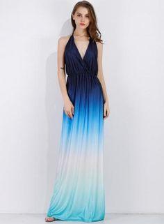 #BFCM #CyberMonday #Oasap.com - #Roawe Women's Gradient V Neck Sleeveless Backless Maxi Dress - AdoreWe.com