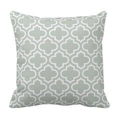 Silver Gray Trellis Pattern Outdoor Pillows