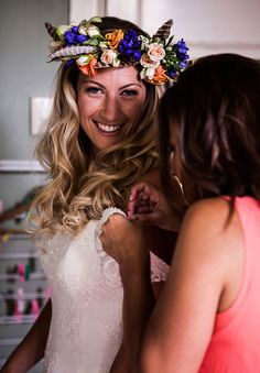 Again, that smile! Wedding Weekend, Dream Wedding, Wedding Day, Flower Garlands, Flower Crowns, Feather Garland, Victoria And David, Floral Crown Wedding, Your Hair
