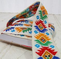 Vintage Embroidered Fabric Trims Remnants by DivineOrders on Etsy, $17.00