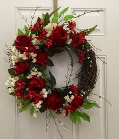 A personal favorite from my Etsy shop https://www.etsy.com/listing/261729204/red-rose-wreath-valentine-wreath-spring