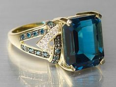 10K Gold Barehipani Topaz with Blue & White Diamond Ring - Jewelry Television - http://www.jtv.com