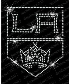 NHL: Los Angeles Kings - Bling - Iron-on Glitter Vinyl & Rhinestone Transfer. Can be easily applied with either a household iron or a heat press. This transfer would look great on just about anything - t-shirt, tank top, sweatshirt, tote, etc. King Baby, My King, Iron On Glitter Vinyl, Nhl Shop, La Kings Hockey, Hockey Boards, Los Angeles Kings, Win Or Lose, Rhinestone Transfers