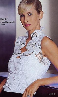 Crochetemoda: вязание крючком - белый Блуза