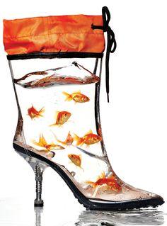 Schuhe Fall's Biggest Trends: Weatherproof Boots - Miu Miu boot Dressing Up Shower Curtain Rods If y Creative Shoes, Unique Shoes, Miu Miu, Funny Shoes, Weird Shoes, Crazy Heels, Shoe Boots, Shoes Heels, High Heels