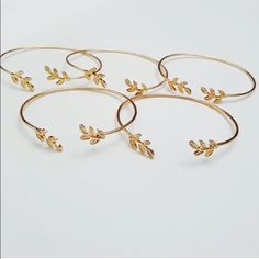 Gold Plated Leaves Bangles