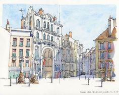 """488 Beğenme, 3 Yorum - Instagram'da Luk Van Loock (@lukvl): """"#Repost @juliodelrio_ ・・・ Place du Général de Gaulle, Lille, France Pen&watercolour #usk…"""""""