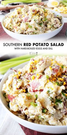 Red Potato Saladis side dish perfect for feeding a crowd! Red Potatoes are mixed with hard-boiled eggs, celery, and green onions, coated in a simple dressing of sour cream, mayonnaise, and dijon mustard, and finished off with a sprinkle of tangy dill. It's best served at BBQ's, potluck parties, and holiday gatherings! Dill Recipes, Potluck Recipes, Side Dish Recipes, Salad Recipes, Cooking Recipes, Loaded Potato Salad, Potato Salad Dill, Bacon Ranch Potatoes, Twice Baked Potatoes