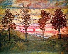 Egon Schiele Four Trees