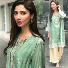 Mahira Khan effortlessly stuns in a pistachio green ensemble! Pakistani Fashion Casual, Pakistani Outfits, Indian Outfits, Indian Fashion, Pakistani Couture, Pakistani Dress Design, Stylish Dresses, Casual Dresses, Fashion Dresses