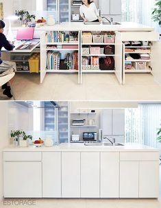 Micro Apartment, Japanese Kitchen, Storage Design, Muji, Organization Hacks, Future House, Counter, Kitchen Cabinets, Dining Room