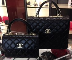 Chanel Black Trendy CC Dual Handle Small:Large Flap Bags