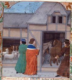 *Cattle-Horses. Bruges 15th cent. Royal 14 E VI.  Brit Lib. by tony harrison, via Flickr