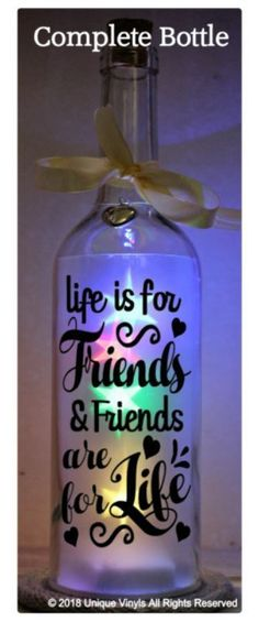 Starlight Bottle LED Light Up Life is for Friends and Friends are for Life Decal bottle crafts graduation Star Bottle LED Light Up Life is for Friends and Friends are for Life Decal Liquor Bottle Crafts, Wine Bottle Art, Painted Wine Bottles, Lighted Wine Bottles, Liquor Bottles, Diy Bottle, Bottle Caps, Wine Glass, Light Up Bottles