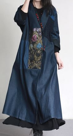 2017 autumn denim blue embroidery cotton outfits unique oversize patchwork elegant trench coatsMost of our dresses are made of cotton linen fabric, soft and breathy. loose dresses to make you comfortable all the time. Abaya Fashion, Suit Fashion, Kimono Fashion, Fashion Dresses, Long Wool Skirt, Salwar Designs, Clothes 2019, Couture Embroidery, Mode Hijab