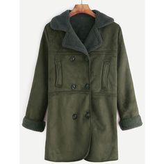 SheIn(sheinside) Army Green Double Breasted Sherpa Lined Suede Coat ($33) ❤ liked on Polyvore featuring outerwear, coats, green, short coat, pea jacket, green military coat, green pea coat and pea coat