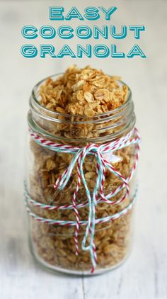 An easy granola recipe. This coconut granola has a rich taste and is free of nuts. Gluten free recipe.