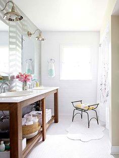 Love the sink facade - less bulk for a narrower bathroom layout....