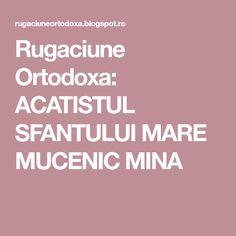 Rugaciune Ortodoxa: ACATISTUL SFANTULUI MARE MUCENIC MINA Mina