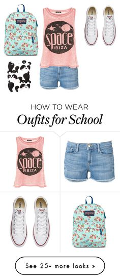 """Back to school"" by johannaelyce on Polyvore featuring Frame Denim, New Look, Converse, JanSport and claire's"