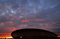 Sunset over the London 2012 Velodrome in the Olympic Park