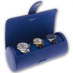 2f399a193ab Triple Watch Roll Travel Box D183 Rapport Berkeley Blue Leather Watch  Display
