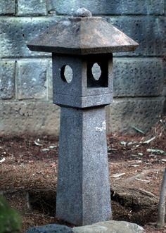 Stone lantern sculpted in two pieces from a heavy, grayish igneous stone. Showa Era ca. Japanese Garden Lanterns, Japanese Garden Backyard, Japanese Stone Lanterns, Japan Garden, Garden Lamps, Garden Art, Garden Design, Garden Ideas, Wabi Sabi