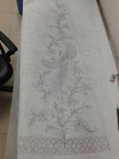 Zardozi Embroidery, Bird Embroidery, Couture Embroidery, Beaded Embroidery, Border Embroidery Designs, Machine Embroidery Patterns, Bird Nest Craft, Batik Pattern, Pencil Design