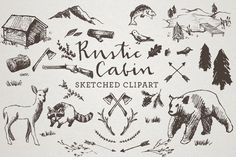 Rustic Cabin Clipart - Sketched Clip Art, Crosshatch art, Hand drawn clipart, sketchy drawings, bear clipart, nature clipart, wilderness art by LemonadePixel on Etsy https://www.etsy.com/listing/201854974/rustic-cabin-clipart-sketched-clip-art